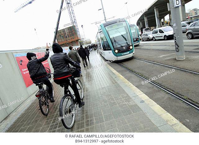 Tram in Plaça de les Glories, Barcelona, Catalonia, Spain