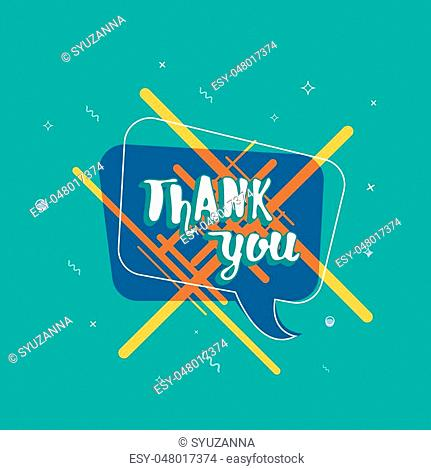 Thank you card. Banner with handwritten lettering and abstract geometric decoration elements. Thank you phrase. Vector illustration
