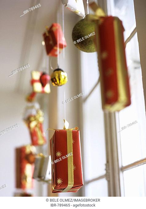 Christmas decorations, wrapped gifts