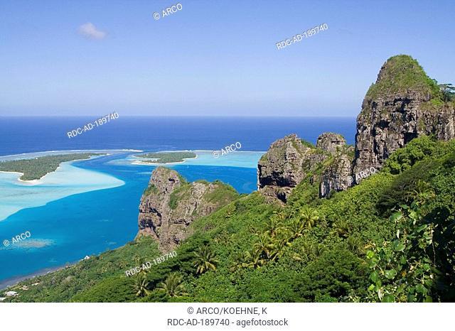 Mountain and lagoon, Maupiti, French Polynesia