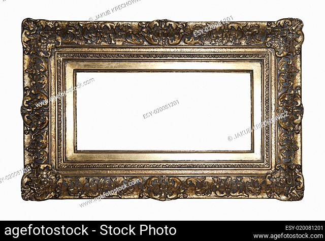 Old gilded picture frame with clipping path