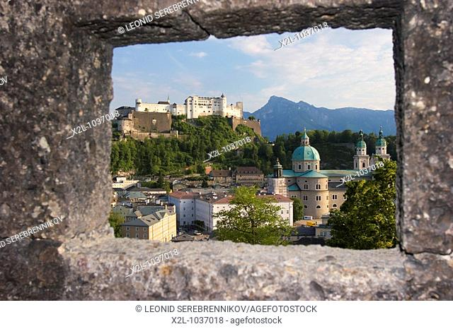 View from an embrasure of the medieval bastion over the old town of Salzburg  Austria