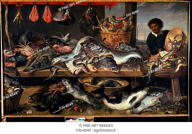 A Fishmonger's shop. Snyders, Frans (1579-1657). Oil on canvas. Baroque. State Hermitage, St. Petersburg. 207x341. Painting