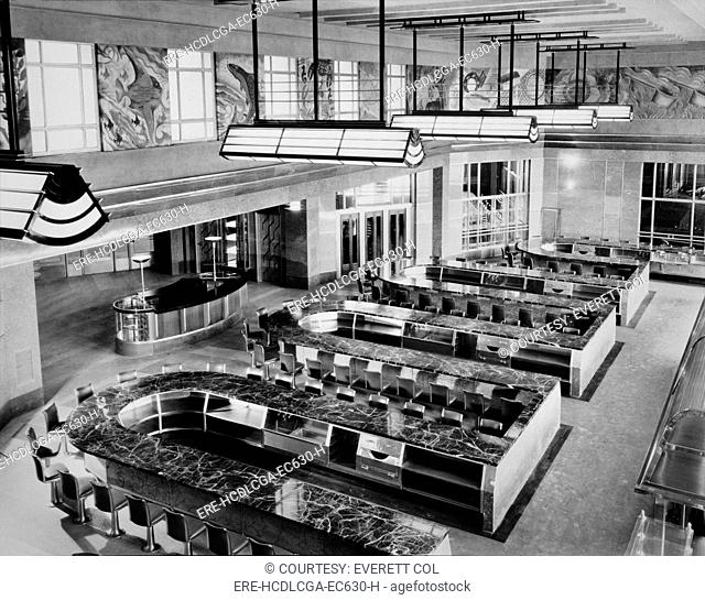 Cincinnati Union Terminal, lunchroom, constructed in 1933, partially demolished in 1974, Cincinnati, Ohio, photograph circa early 1970s