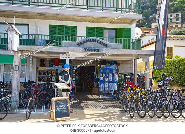 Tramuntana Tours, tour and travel agency, with bicycle rental, Carrer de la Marina, seaside street, Port de Soller, Mallorca, Balearic islands, Spain