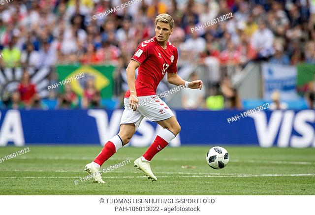 Jens Stryger Larsen (Denmark) on the ball GES / Football / World Championship 2018 Russia: Denmark - 26.06.2018 GES / Soccer / Football / Worldcup 2018 Russia:...