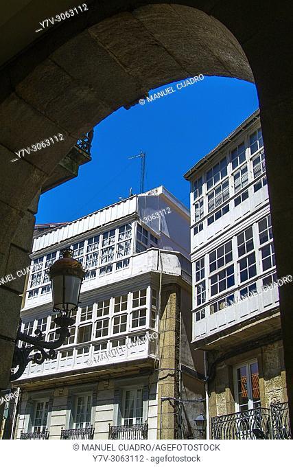 Architecture in the city of La Coruña, Galicia, Spain