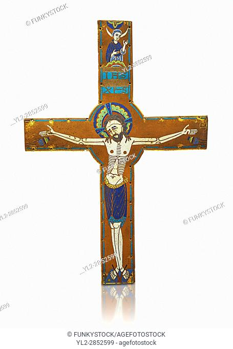 Medieval enamelled crucifix, circa end of 12th century from Limoges, enamel on gold. AD. Inv OA 2956, The Louvre Museum, Paris