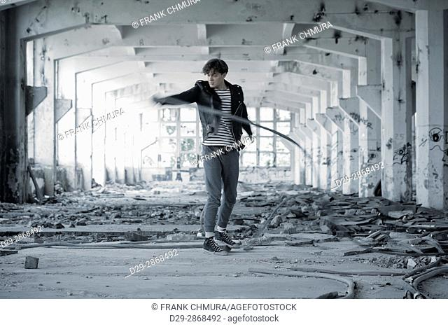Portrait of a Young Man in Abandon Building