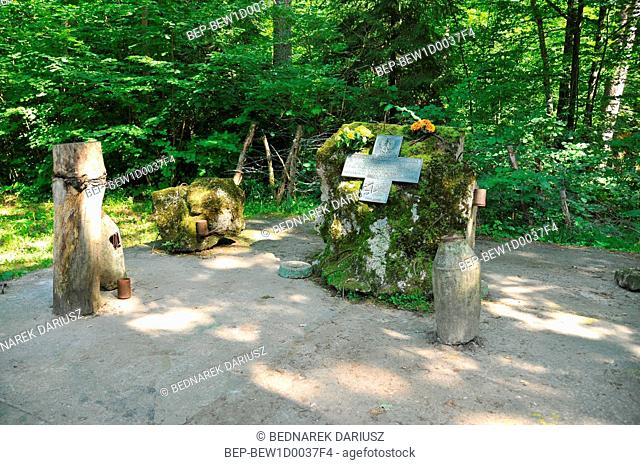 Wolf's Lair was Adolf Hitler's first Eastern Front. A cross commemorating Polish sappers who died during the de-mining of the area