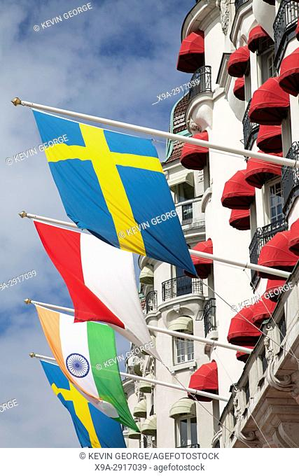 Flags on Facade of Hotel Diplomat, Stockholm, Sweden