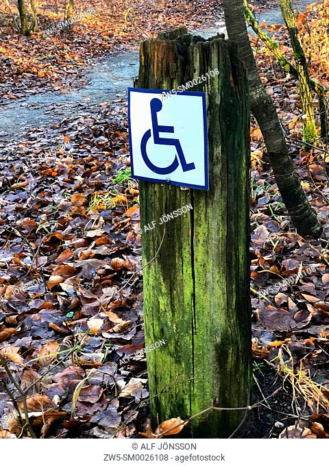 Signpost in nature at a trail for wheelchairs in Snogeholm, Scania, Sweden