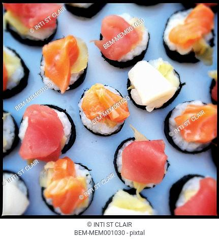 Close up of sushi rolls