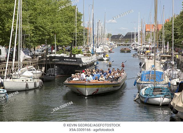 Sightseeing Boats on Canal in Christianshavn; Copenhagen; Denmark