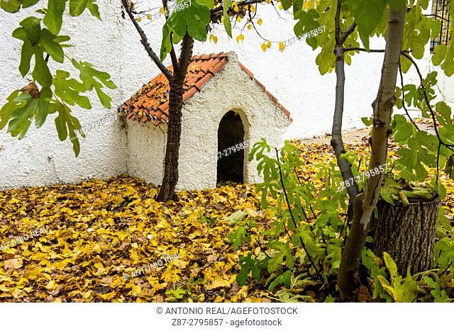 Doghouse, Rambla de los Molinos in autumn, Almansa, Albacete province, Castilla-La Mancha, Spain