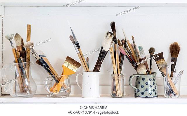 artist's studio, painter's studio, art, paint brushes