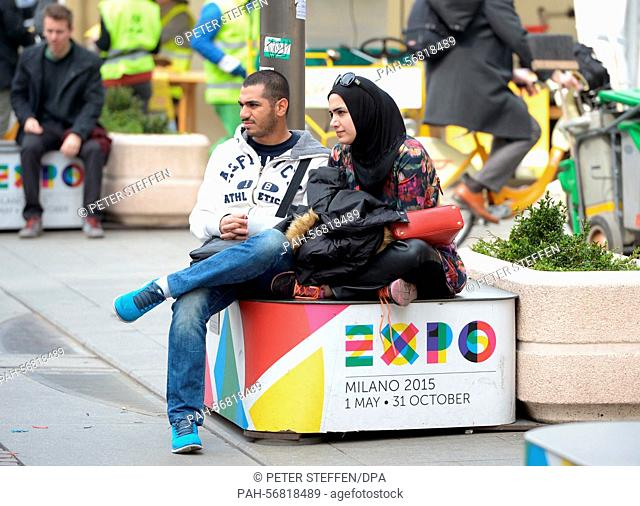 EXPO advertising in the shopping street 'Via Dante' in Milan, Italy, 19 March 2015. The EXPO universal exposition runs from 1 May - 31 October 2015
