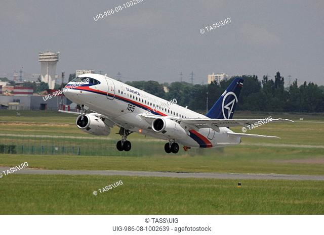 Sukhoi Superjet 100 aircraft on a demonstration flight at the Paris Air Show 2009 in Le Bourget, France