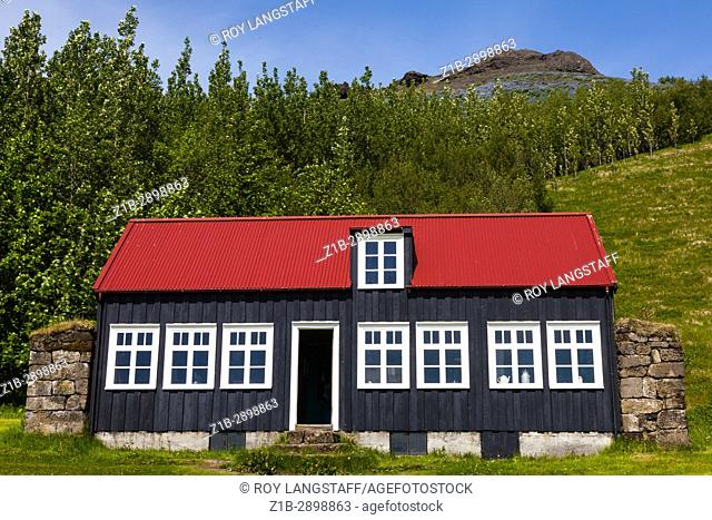 House built entirely of driftwood now moved to the Skogar Folk Museum in Iceland