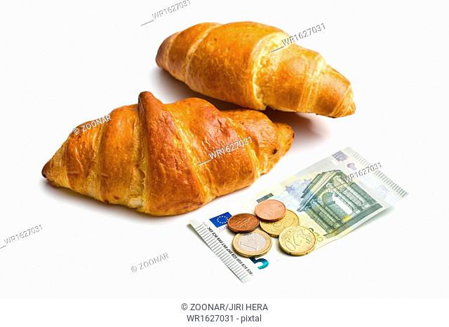 two croissants and euro currency