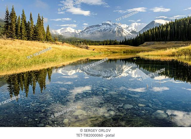 Canada, Alberta, Banff, Mountain peak reflecting in lake