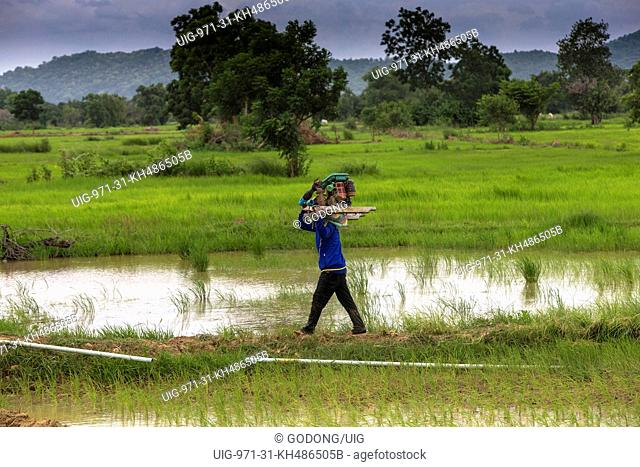 Khmer farmer carrying a pump for irrigation. Cambodia