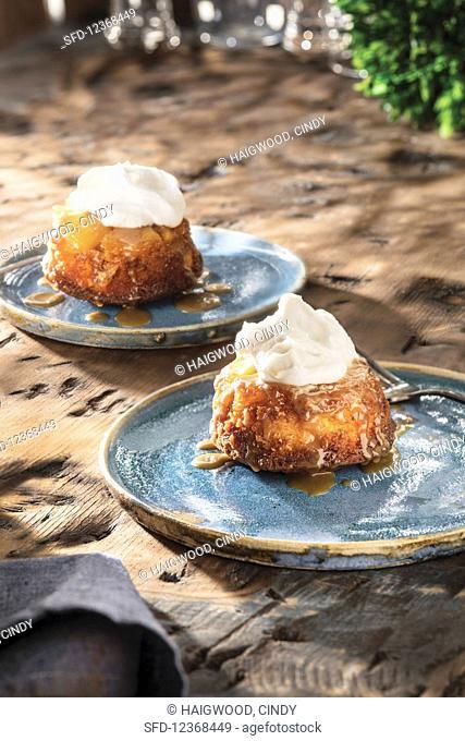Pineapple Upside-Down Cake atop handmade plates
