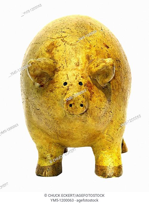 Front view of overly full pig figurine