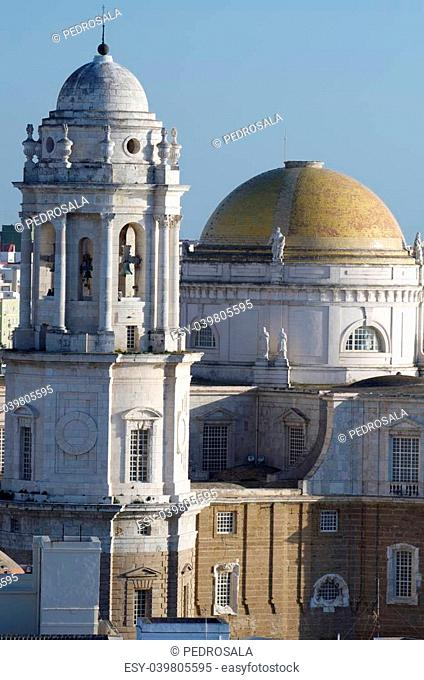 view of the cathedral of Cadiz, Andalusia, Spain