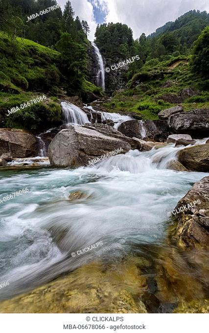 View of Cascata della Froda, Sonogno, Valle Verzasca, Canton Ticino, Switzerland
