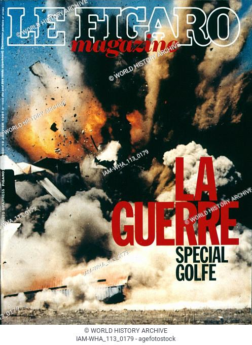 Front page of 'Le Figaro' a French newspaper, 16th January 1991, concerning military action during the Gulf War (2 August 1990 - 28 February 1991)