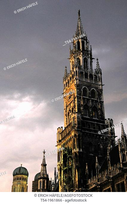 Town Hall and Frauenkirche Munich in a rain-light mood at dusk