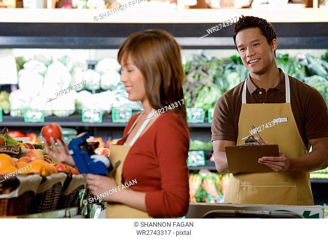 Sales assistants working