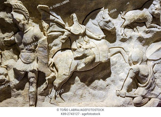 The Battle. Frieze of the Temple of Hadrian. Ephes Museum. Classic Greek Collection. Asia Minor. Turkey