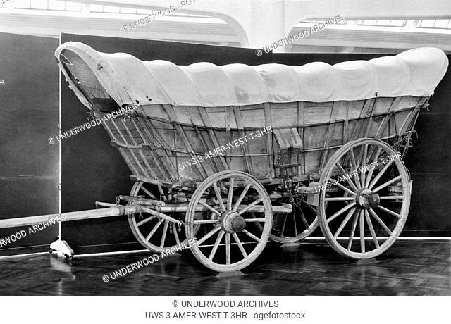 United States: c. 1850.A typical Conestoga Covered Wagon. These were first built in the Conestoga Valley in Lancaster, Pennsylvania