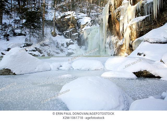 Franconia Notch State Park - Kinsman Falls located along Cascade Brook in the White Mountains, New Hampshire USA  This brook is located along the Appalachian...