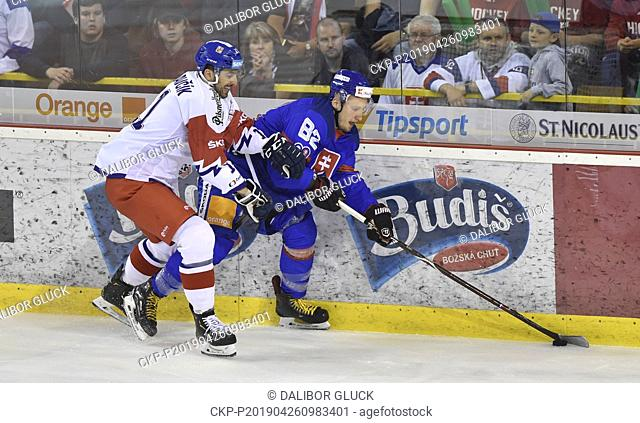 Radovan Pulis of Slovakia, right, and Michal Moravcik of Czech Republic in action during the Euro Hockey Challenge match Slovakia vs Czech Republic in Trencin