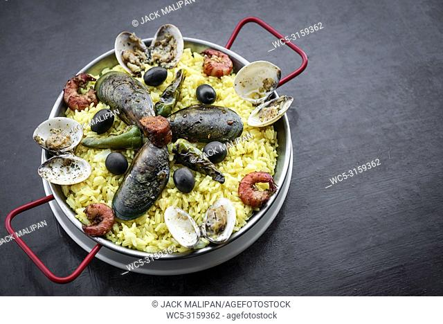 mixed seafood and rice paella famous traditional portuguese and spanish meal