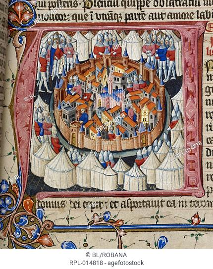Nebuchadnezzar besieges Jerusalem, Detail Opening of the Book of Daniel: initial 'A' shows the siege of Jerusalem by the armies of Nebuchadnezzar
