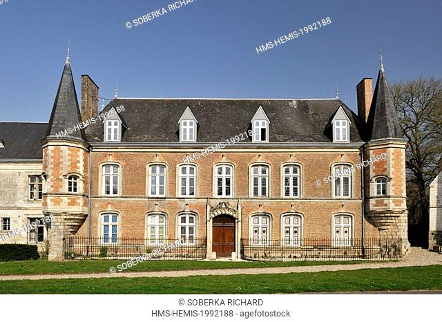 France, Somme, Argoules, facade of Argoules' castle built in the 15th century