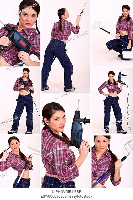 Collage of a female construction worker