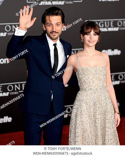 World premiere of 'Rogue One: A Star Wars Story' held at Pantages Theatre - Arrivals Featuring: Diego Luna, Felicity Jones Where: Los Angeles, California