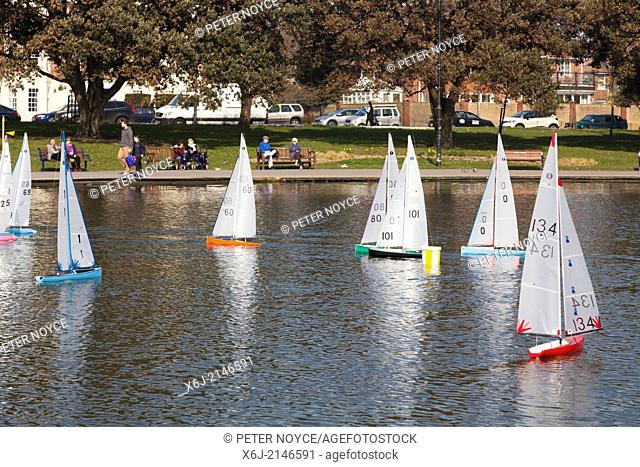 Radio controlled model yachts on Canoe Lake Southsea