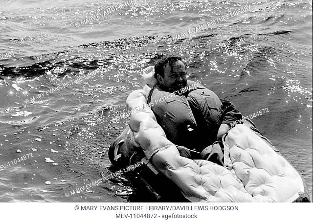 RAF Survival School, Plymouth, where air crew are taught how to survive after ditching their aircraft. Seen here is a man on the water