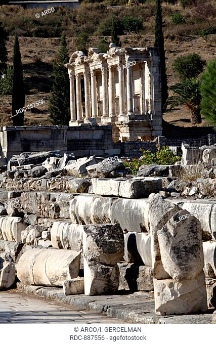 View of The library of Celsus from Marble street. The library of Celsus is an ancient building in Ephesus, Izmir, Turkey