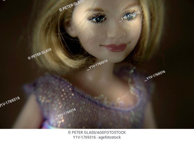Close-up of a blonde female doll