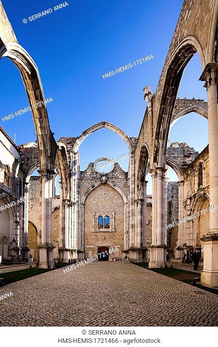 Portugal, Lisbon, Chiado district, Carmo church