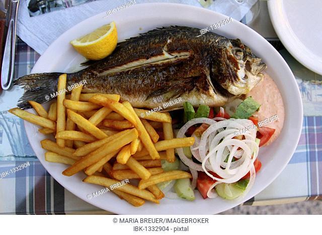 Fish platter with tzatziki, Greek salad and fries, Crete, Greece, Europe