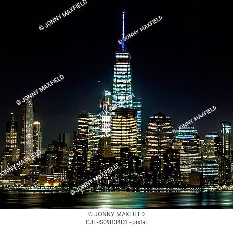 Skyline illuminated at night, Hoboken, New Jersey, USA