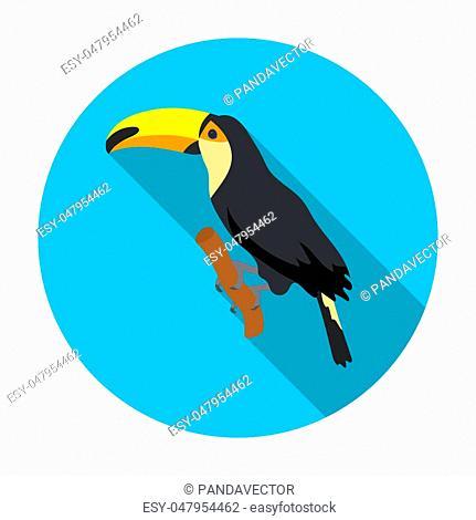 Brazilian toucan icon in flat design isolated on white background. Brazil country symbol stock bitmap, rastr illustration